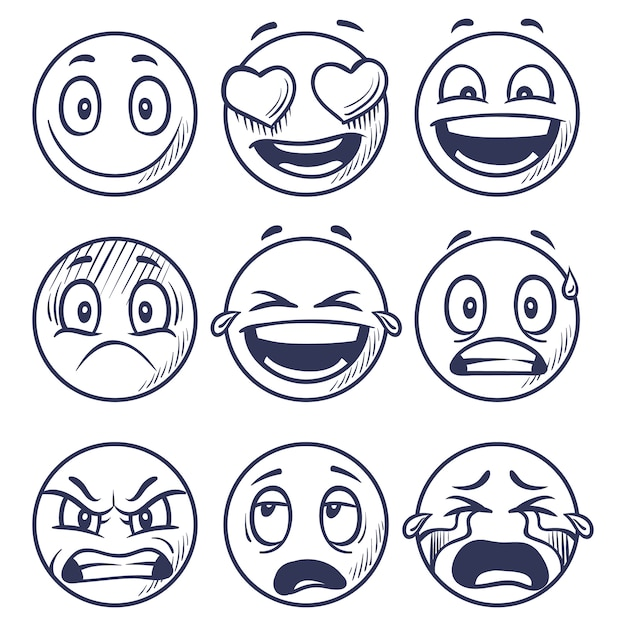 Sketch smiles. doodle smiley in different emotions. Premium Vector