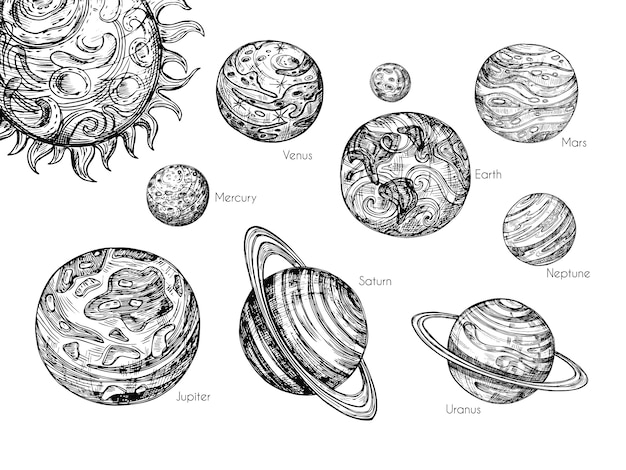 Sketch solar system planets. mercury, venus, earth, mars, jupiter, saturn, uranus and neptune in hand drawn engraving style vector set Premium Vector