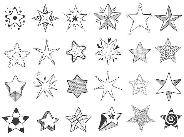 별을 스케치하십시오. 별 모양, 귀여운 손으로 그려진 항성 및 등급 별 낙서 무료 벡터