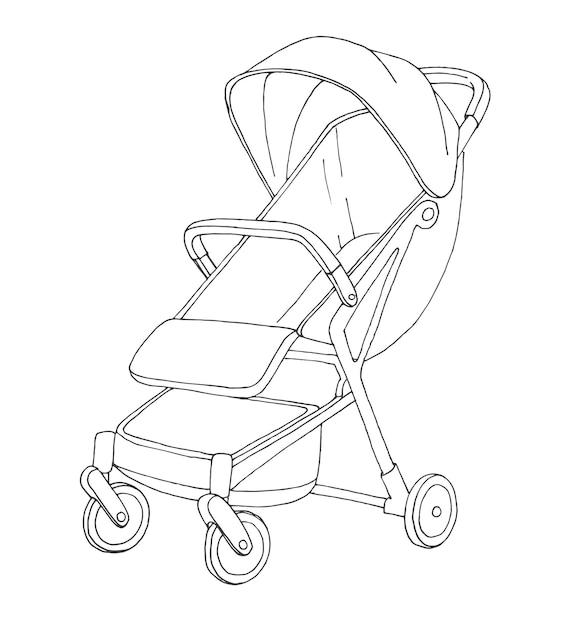 Sketch of a stroller for walks.  illustration Premium Vector
