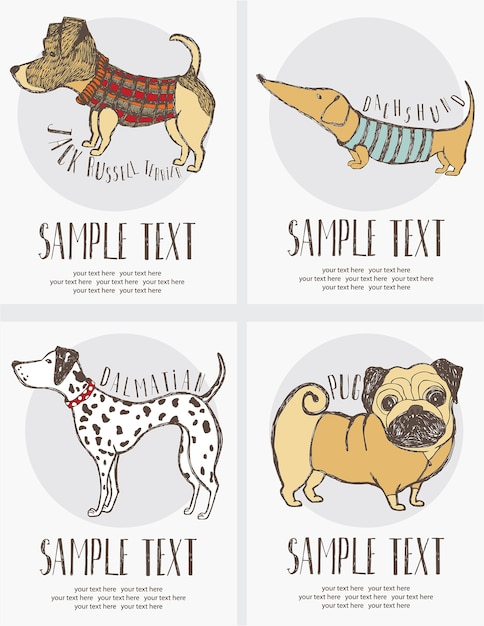 Sketch-style drawing of the dogs cards set Free Vector