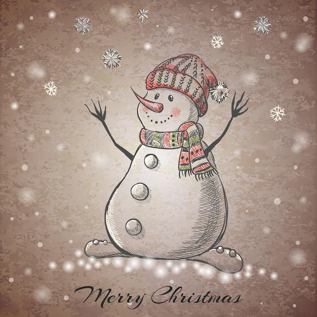 Sketch style hand drawn snowman Premium Vector