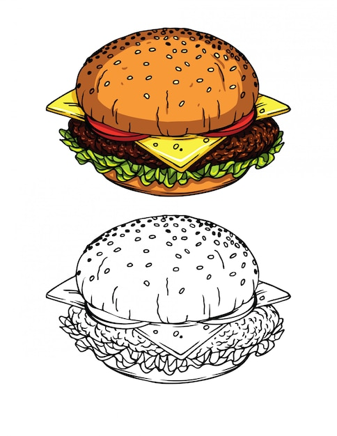 Sketch style illustrations of a fresh burger with cheese, tomatoes, salad and meat Premium Vector