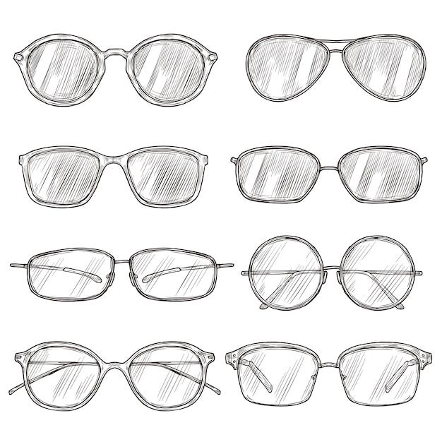 Эскиз солнцезащитных очков. руки drawn оправы для очков, каракули очки. мужские и женские очки изолировали винтажный набор вектора моды Premium векторы