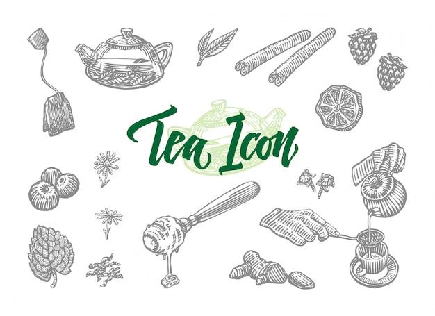 Sketch tea icons set Free Vector