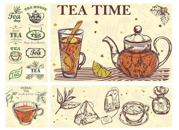 Sketch tea time colorful concept with glass cup teapot of beverage herbs bags and tea labels Free Vector