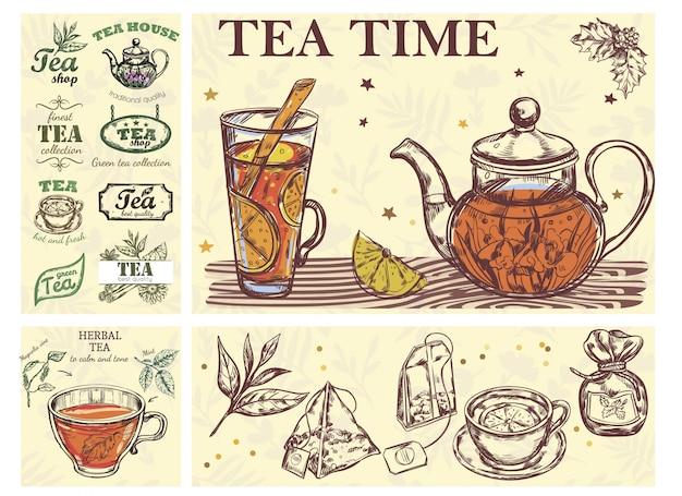 Schizzo tea time colorful concept con teiera tazza di vetro di bustine di erbe bevande ed etichette di tè Vettore gratuito