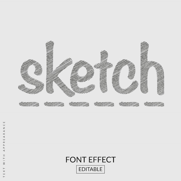 Sketch text font effect Premium Vector