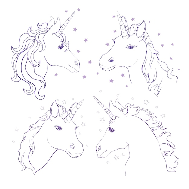Sketch unicorn hand drawn ink illustration unicorn horse animal white mythical horse head with long horn Premium Vector