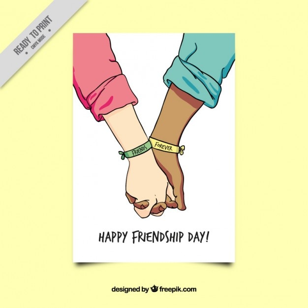 Sketch united hands friendship card Vector – Friendship Card Template