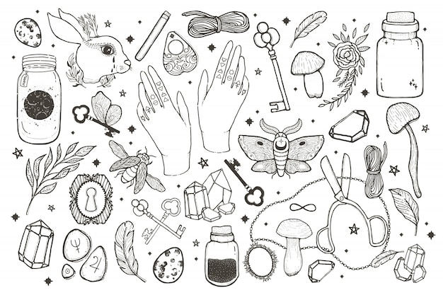 Sketch vector graphic magical set illustration with mystic and occult hand drawn symbols. Premium Vector