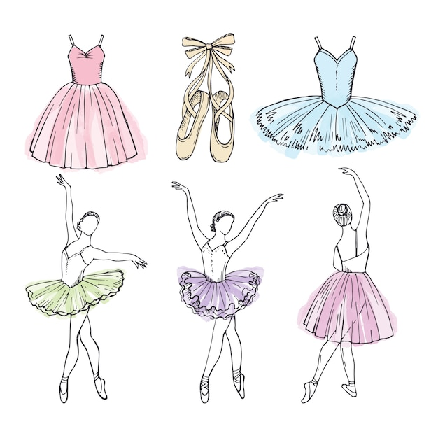 Sketch vector pictures of different ballet dancers. hand drawn illustrations of ballerinas Premium Vector