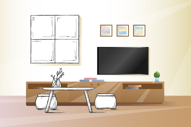 Sketch the wall under the tv.  illustration Premium Vector