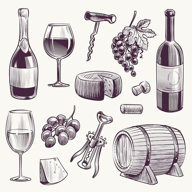 スケッチワインワインボトルとワイングラスブドウとチーズの木の樽 Premiumベクター