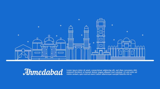 Эскиз с линейным горизонтом ахмадабада Бесплатные векторы