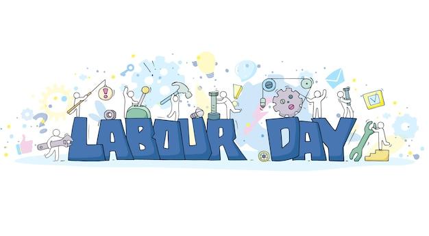 노동절과 작은 사람들로 스케치하십시오. 도구로 노동자의 귀여운 미니어처를 낙서. 손으로 그린 만화. 프리미엄 벡터