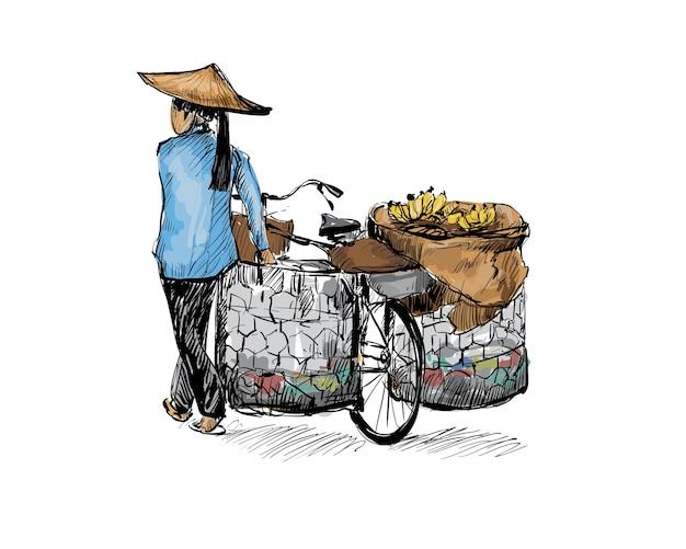 EPS Phác thảo người phụ nữ đi xe đạp ở Hà Nội