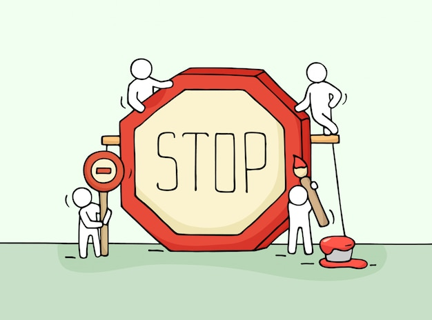 Sketch of working little people with stop sign. Premium Vector