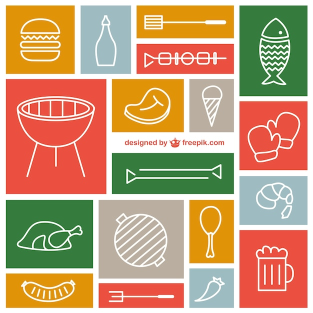 Sketched barbecue icons Vector | Free Download