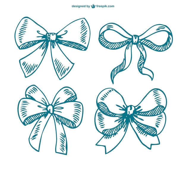 Sketched bows collection Free Vector