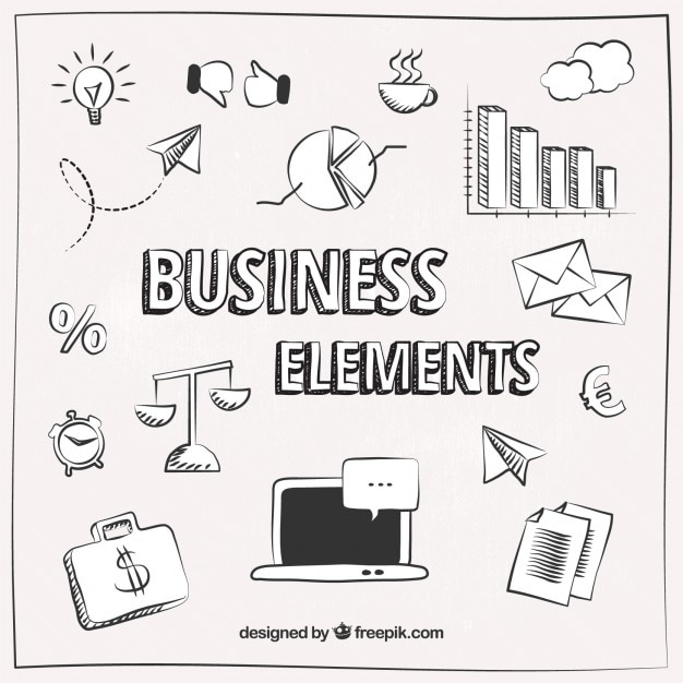 Sketched business elements Free Vector