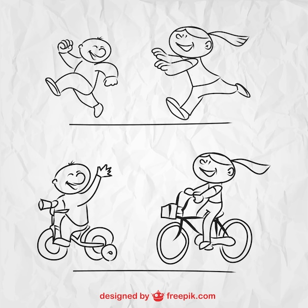 Sketched children playing Free Vector