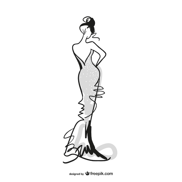 Sketched fashion girl with grey dress Free Vector