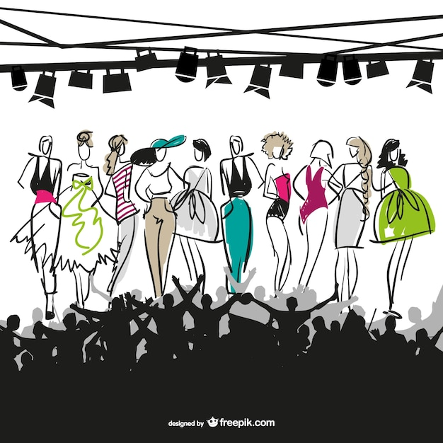 Sketched fashion models in a fashion show Free Vector