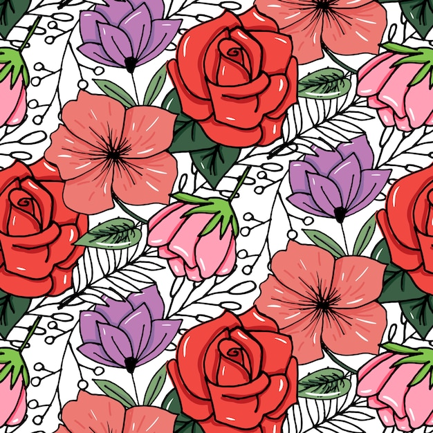 Sketched flower print in bright colors background Premium Vector