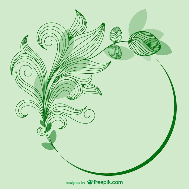 Зеленый вектор шаблон цветок Бесплатные векторы