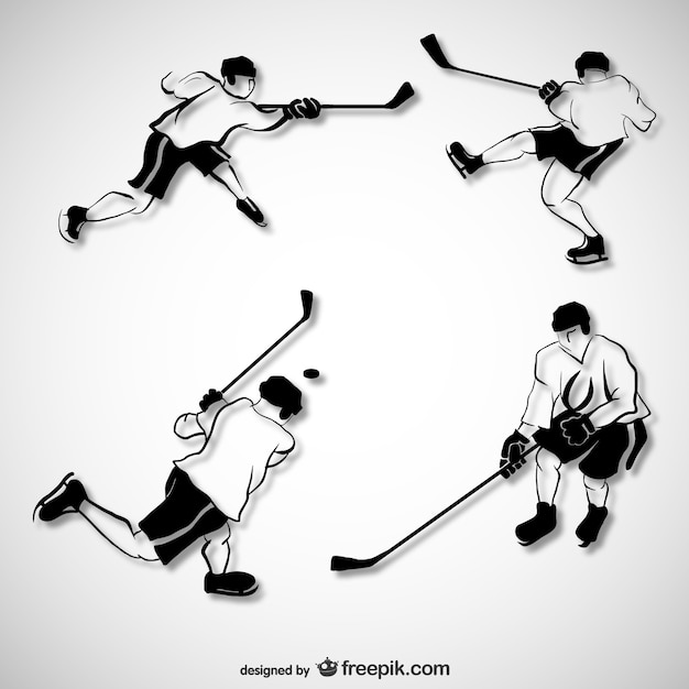 Sketched hockey players Free Vector