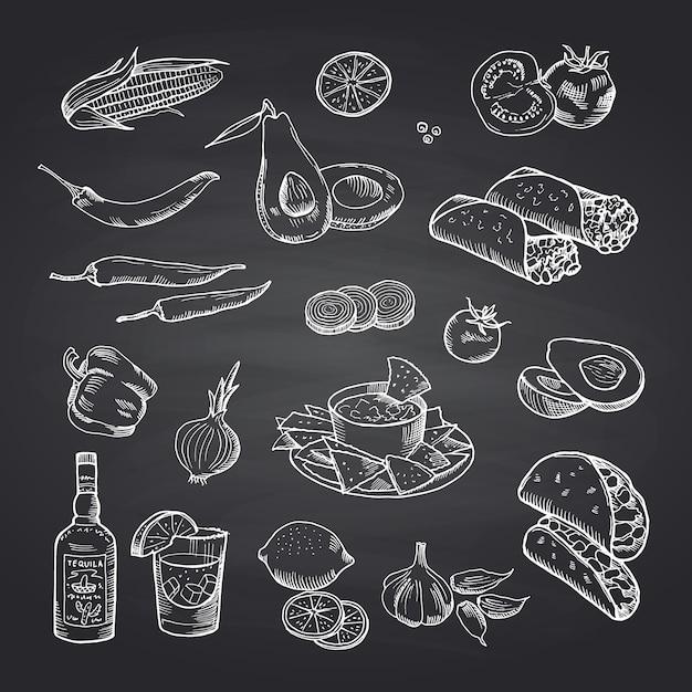Sketched mexican food elements set on black chalkboard Premium Vector
