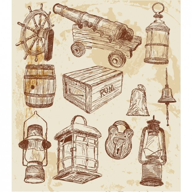 Sketched pirate elements Free Vector