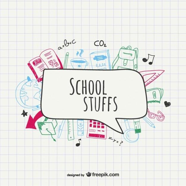 Sketched school supplies Free Vector