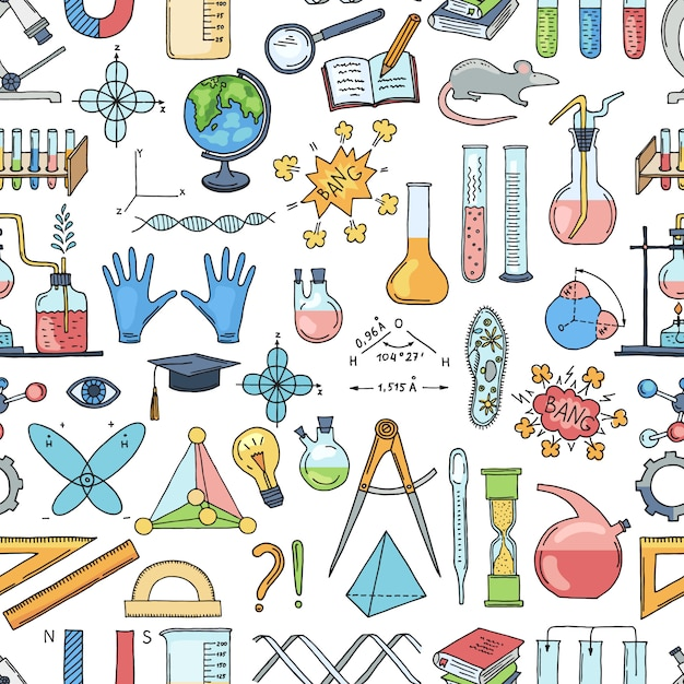 Sketched science or chemistry elements pattern Premium Vector