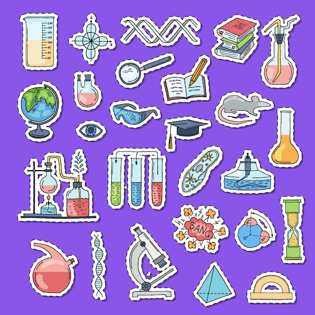 Sketched science or chemistry elements stickers Premium Vector