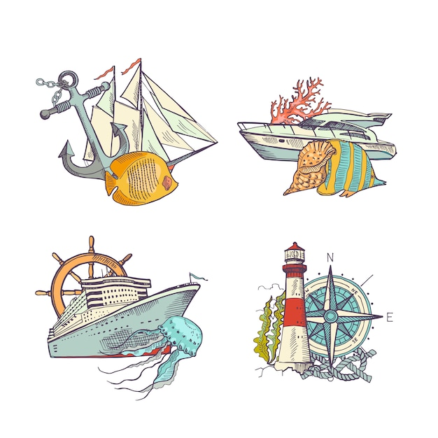 Sketched sea colored elements piles set Premium Vector