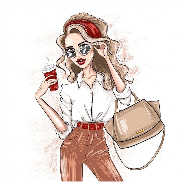 Sketched woman with red accessories Premium Vector