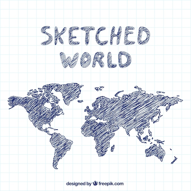 Sketched world Free Vector