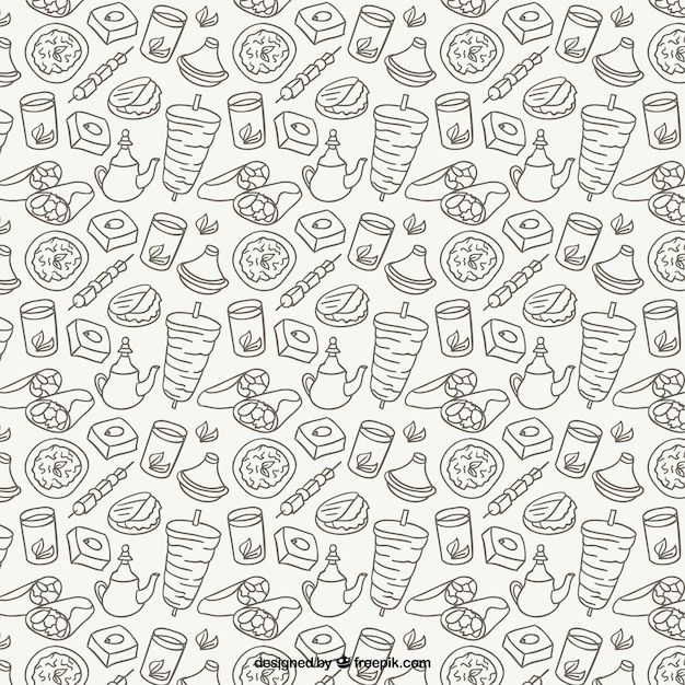 sketches arabic food pattern vector free download