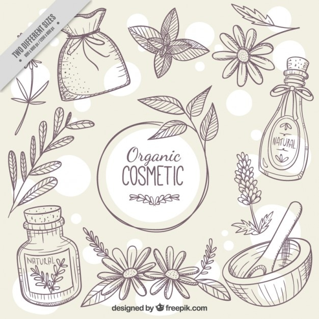 Sketches background of natural cosmetics Free Vector