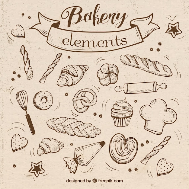 Sketches bakery elements with utensils Free Vector