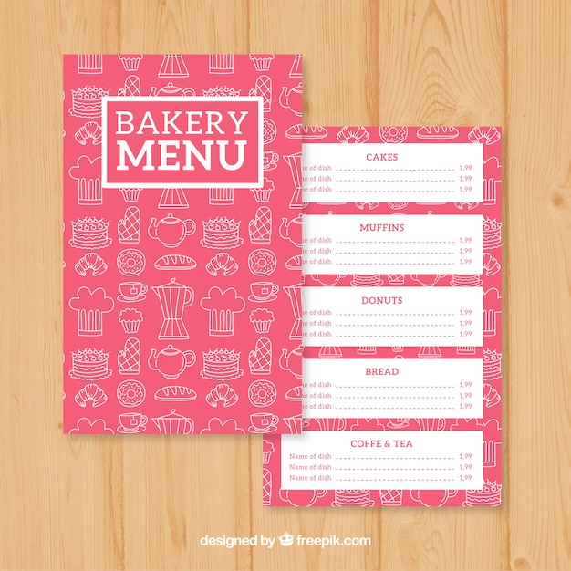 Sketches bakery menu template Vector | Free Download