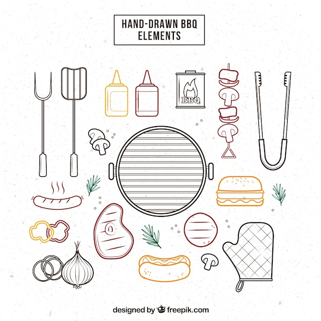 Sketches barbecue elements pack Free Vector