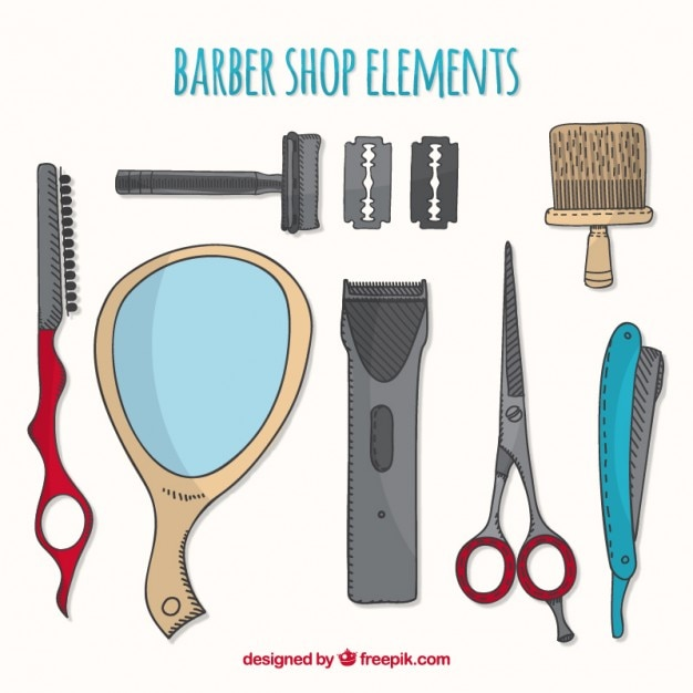 Sketches barber element collection Free Vector