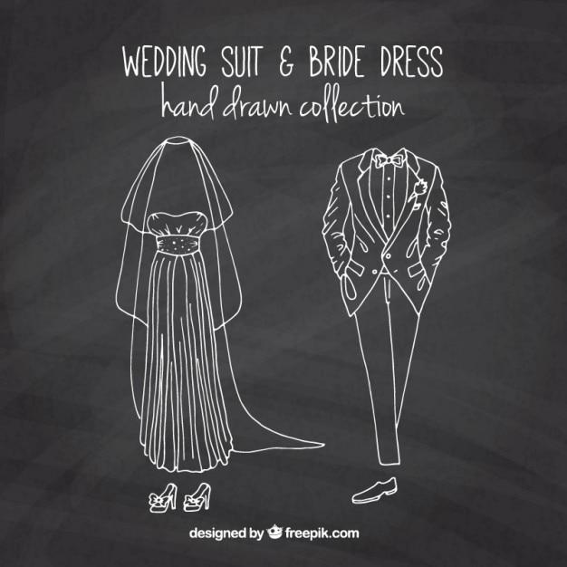 Sketches bride dress and wedding suit in blackboard effect Free Vector