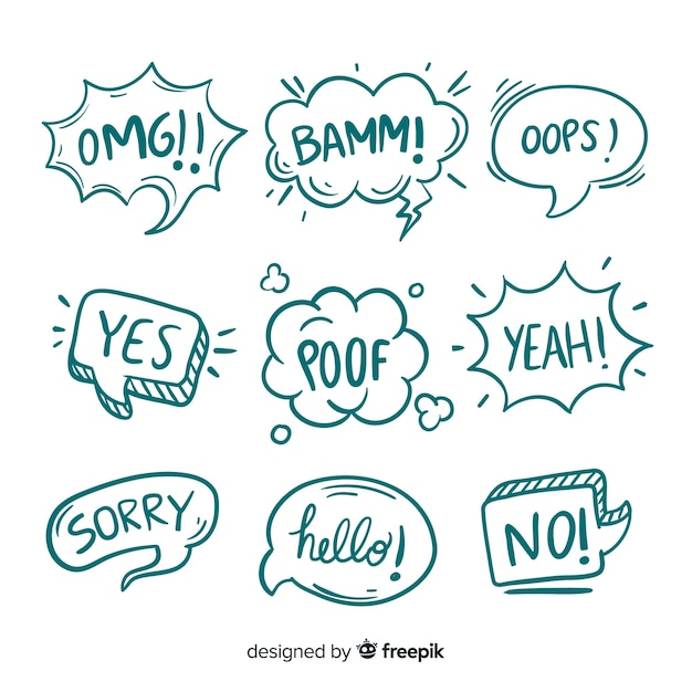 Sketches of bubbles with different expressions Free Vector