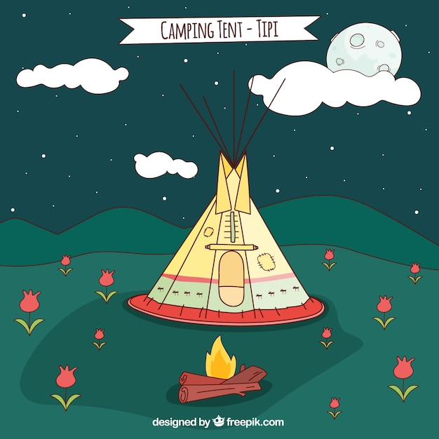 Sketches camping tent-tipi at night