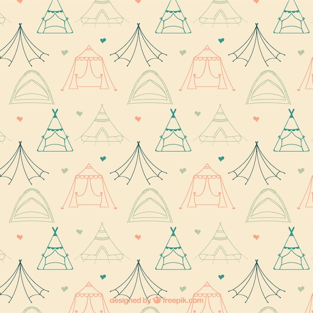Sketches camping tents pattern