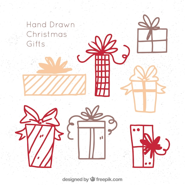 Sketches of christmas gifts Premium Vector